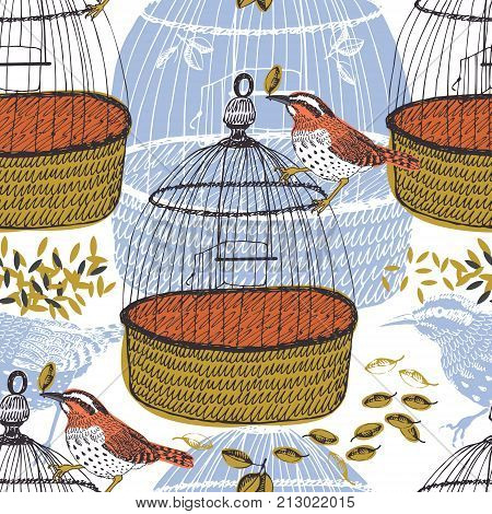 Birds and birdcages Seamless pattern Hand drawing