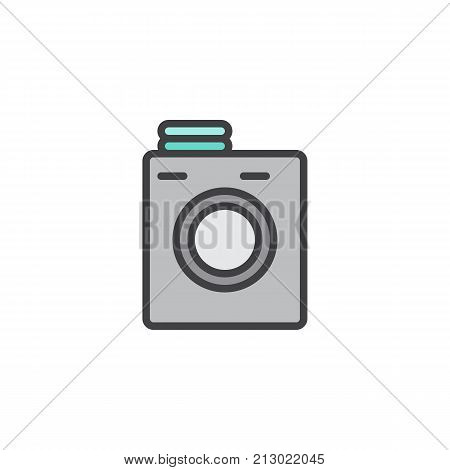 Laundry machine filled outline icon, line vector sign, linear colorful pictogram isolated on white. Symbol, logo illustration. Pixel perfect vector graphics