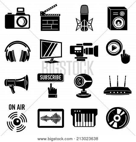 Multimedia internet icons set. Simple illustration of 16 multimedia internet vector icons for web
