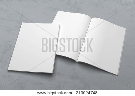 US Letter magazine or brochure 3D illustration mockup template on texture No. 1
