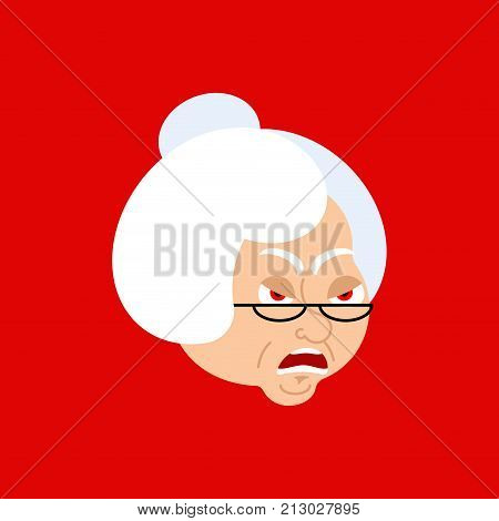Grandmother Angry Emoji Avatar. Face Grandma Evil. Vector Illustration