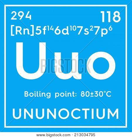 Ununoctium. Noble Gases. Chemical Element Of Mendeleev's Periodic Table.