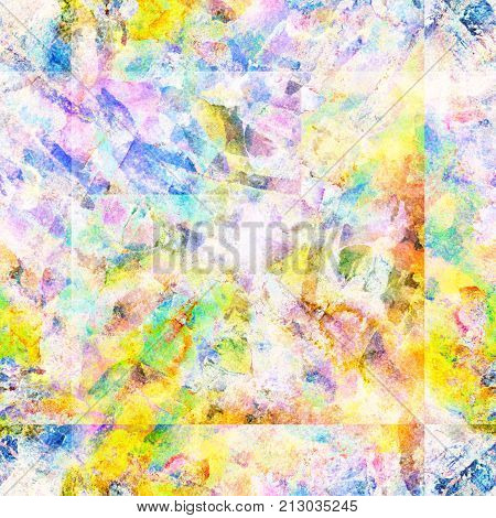 Tie dye watercolor seamless pattern. Geometric watercolour background with square tiles. Artistic shibori wallpaper. Vibrant abstract hand drawn repeated tile. Abstract grunge summer swimwear print.