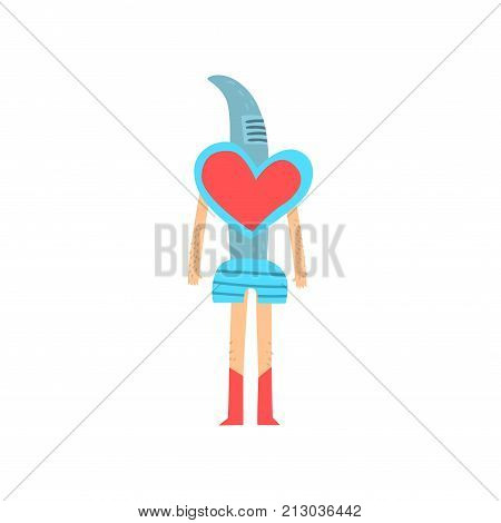 Freak man character in funny blue costume with heart, freaky masquerade or carnival costume, creative party in crazy style cartoon vector Illustration on a white background