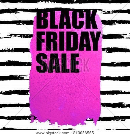 Vector illustration of Black Friday Sale banner with pink watercolor spot on watercolor brush stroke background. Inscription design template.