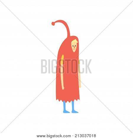 Freak man character in funny red costume, freaky masquerade or carnival costume, creative party in crazy style cartoon vector Illustration on a white background