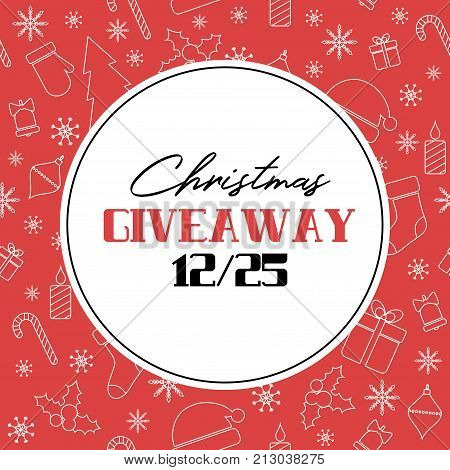 Christmas giveaway vector banner on red background