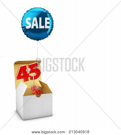 Open Box And Flying Balloon With Forty Five Percent Sign, Concept Of Sale For Shops. 3D Illustration