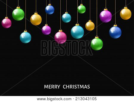 Colorful hanging Christmas balls isolated on black background. Xmas realistic baubles. Vector holyday decorations.