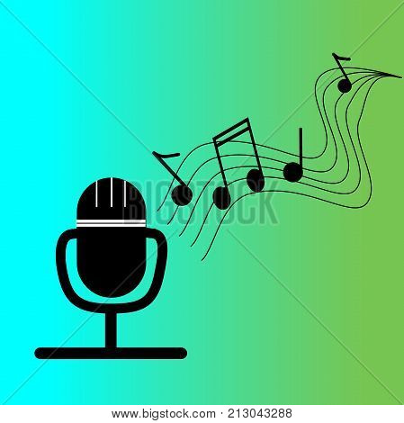 Microphone with pentagram with waves and musical figures coming out of it. Vector illustration.