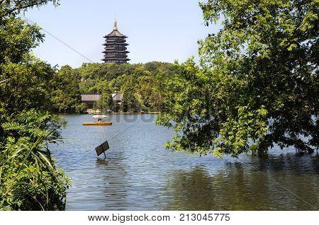 HANGZHOU, CHINA - JULY 29, 2012 - Leifeng Pagoda, West Lake, Hangzhou