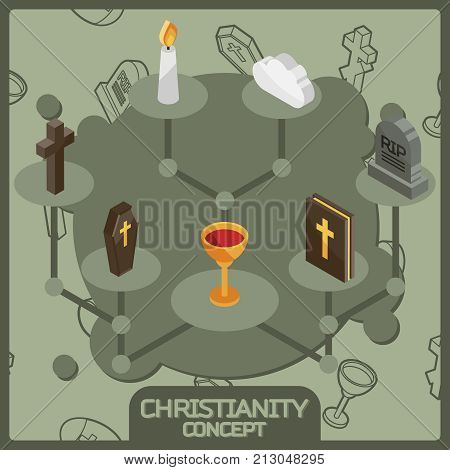 Christianity isometric concept icons. Vector illustration, EPS 10