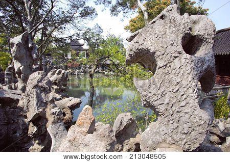 Curious rocks at the Lion Grove Garden Suzhou China