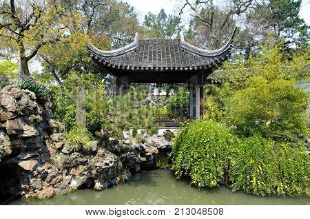 Pavilion at the Lion Grove Garden Suzhou China