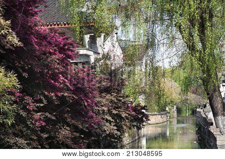 Canal scene in Suzhou's Pingjiang District, Suzhou, China