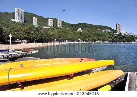 DEEPWATER BAY, HONG KONG - JUNE 2, 2013 - Summer at Deepwater Bay, Hong Kong Island. Deep Water Bay is a bay and beach in the Southern District of Hong Kong Island.