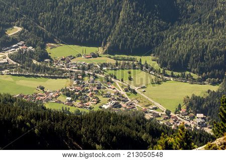 Mountains valley and peaks landscape natural environment. Hiking in the alps. Tirol Austria Europe