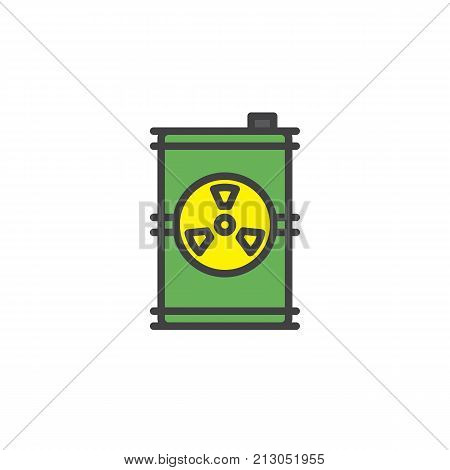 Toxic barrel filled outline icon, line vector sign, linear colorful pictogram isolated on white. Radioactive waste symbol, logo illustration. Pixel perfect vector graphics
