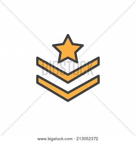 Rank shoulder straps with star filled outline icon, line vector sign, linear colorful pictogram isolated on white. Symbol, logo illustration. Pixel perfect vector graphics