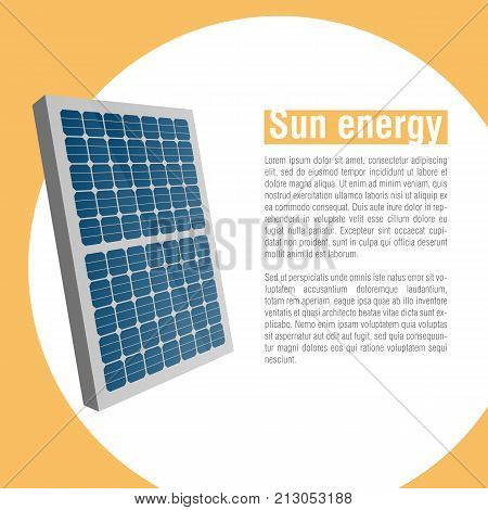 Solar battery. Energy of sun. Green energy. Renewable energy. Vector illustration.