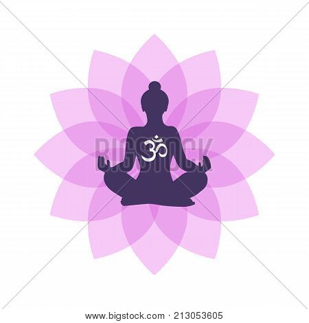 Lotus Yoga logo vector template. Human silhouette with lotus flower