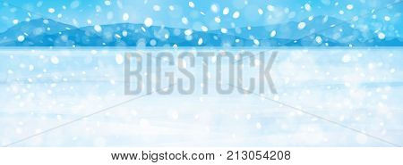 Vector snow fall in   blue  winter  mountain background.