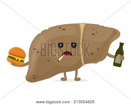 Sad unhealthy sick liver with bottle of alcohol and smoking cigarette,burger. Vector modern style cartoon character illustration icon design. unhealthy liver concept.