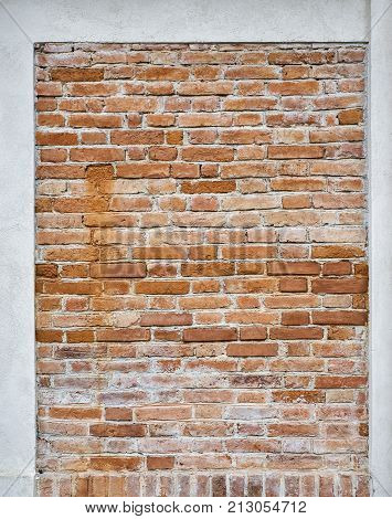 abandoned grunge red brick stucco wall background
