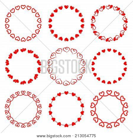 Set of isolated vector romantic round frames with hearts.A collection of classic circle frame Valentine's day from single and double hearts red color for decorating greeting cards wedding invitations
