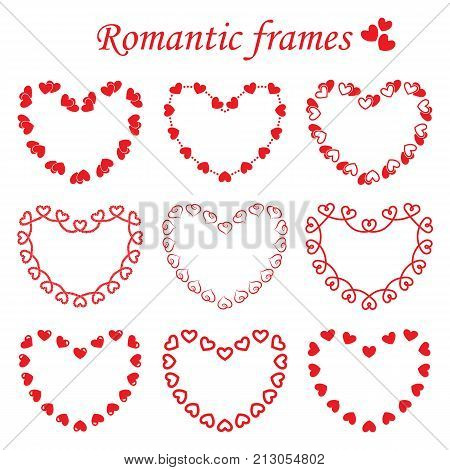 Vector set of different frames in heart shape consisting of single and double hearts. Collection of romantic frames monochrome red color for the decoration and design of post cards for St. Valentine's day wedding and holiday invitations