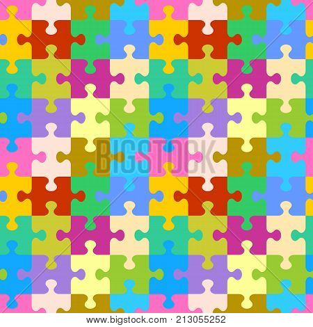 Seamless (you see 4 tiles) colorful jigsaw puzzle pattern, background, print, swatch or wallpaper with classically shaped pieces