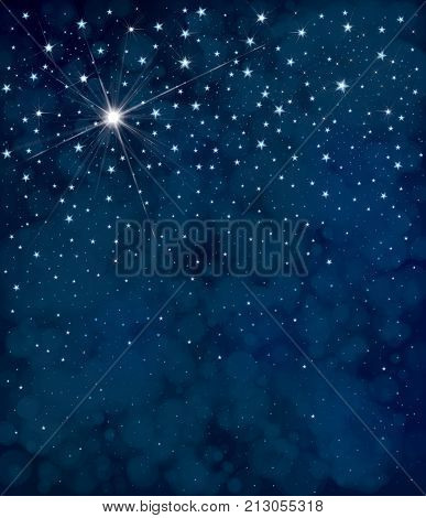 Vector starry night sky background. Christmas background.