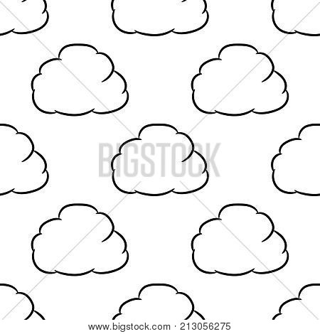 Seamless pattern from сloud thought of black brush lines on white background of vector illustrations