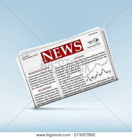 Icon of the newspaper with financial and economic news. Charts of trading on the stock exchange. Stock vector illustration.