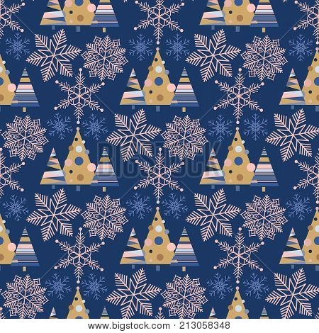 Snowflake winter christmas tree holiday fir-tree design season december snow star celebration ornament vector illustration seamless pattern background. Snowfall new year nature beautiful backdrop.