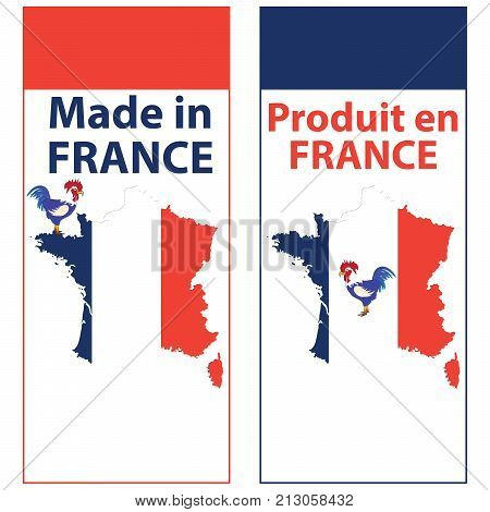 Made in France / Produit en France - sticker set for print. Contains the map and the flag, as well as a depiction of the french national symbol, the gallic rooster