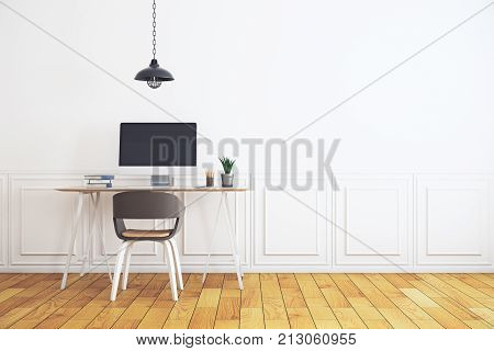 Workplace In Minimalistic White Interior