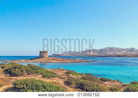 View Of La Pelosa Beach, Sardinia, Italy.