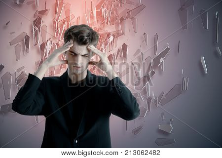 Thoughtful Businessman On Abstract Background