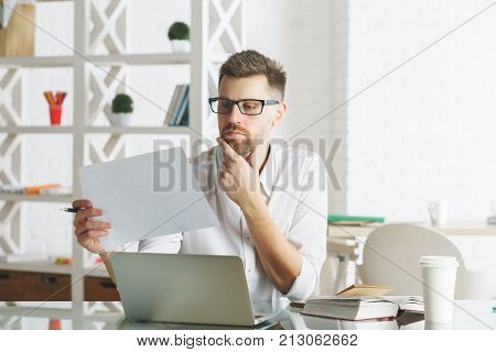 White Business Man Working On Project