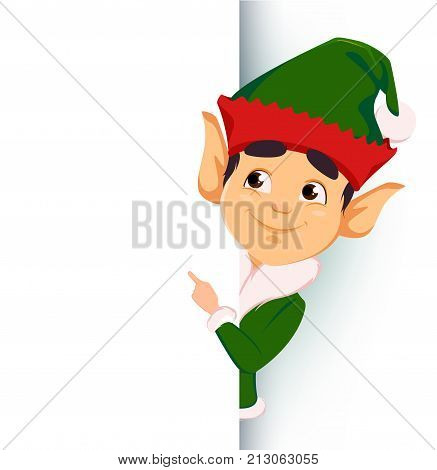 Merry Christmas and Happy New Year. Elf standing behind a sign and showing on blank placard. Happy smiling cartoon character. Vector illustration on white background