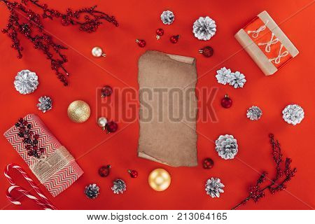Blank Papyrus And Christmas Decorations