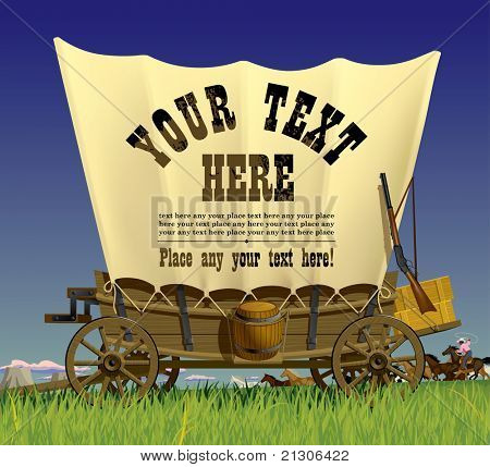 Vector illustration with a Wild West covered wagon in prairie against the background of a flock of horses poster