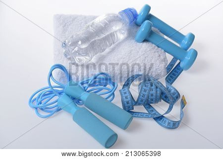 Health And Fitness Symbols. Jump Rope, Water Bottle, Barbells
