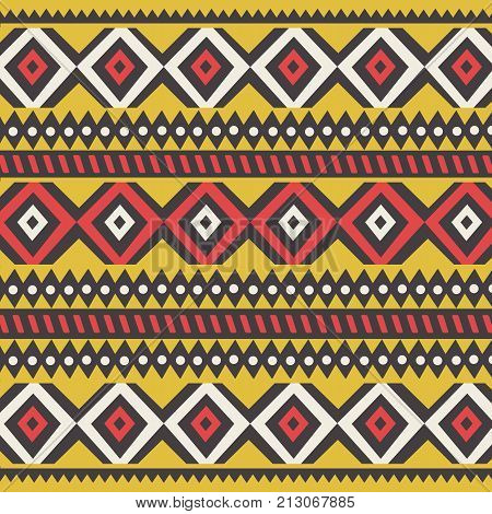 Tribal ethnic colorful bohemian pattern with geometric elements African mud cloth tribal design vector illustration