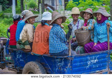 SHAN STATE MYANMAR - SEP 06 : Groupe of Burmese women farm workers in Shan state Myanmar on September 06 2017 agriculture is the main industry in Myanmar