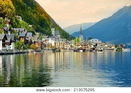 Scenic View Of Hallstatt Lakeside Town In The Austrian Alps In Beautiful Evening Light On Beautiful