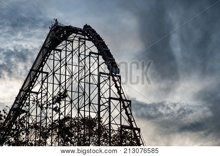 ALLENTOWN, PA - OCTOBER 22: View of Roller Coasters at Dorney Park in Allentown, Pennsylvania