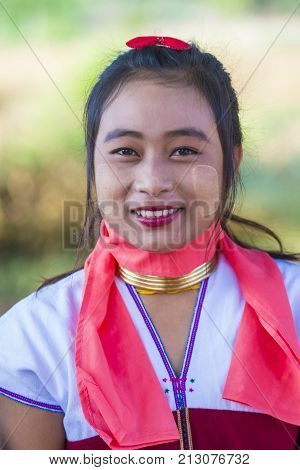 BAGAN MYANMAR - SEP 04 : Portrait of Kayan tribe woman in Bagan Myanmar on September 04 2017 Kayan tribe woman are well known for wearing neck rings.
