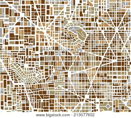 Background city map pattern repeating seamless urban streets, houses and buildings